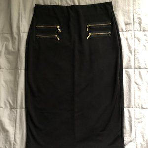 NWT Black zipper Midi Pencil Skirt